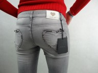 TWIN-SET markowe jeansy spodnie damskie szare slim fit