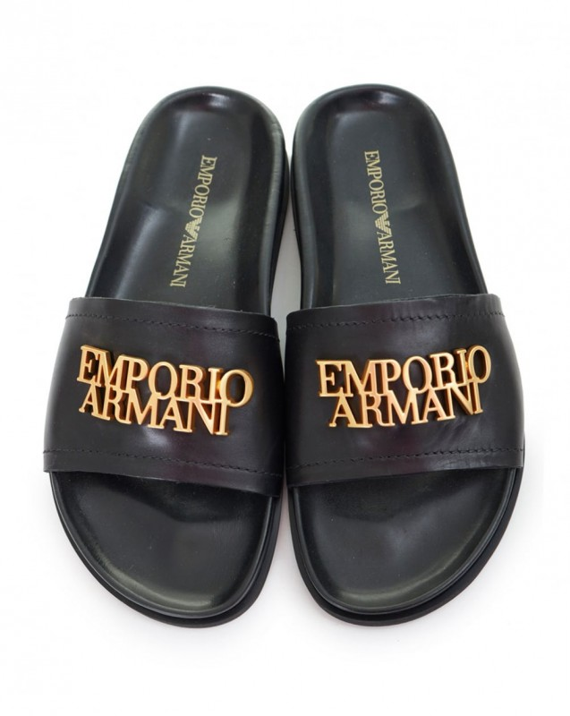 0432fed6706c8 EMPORIO ARMANI markowe włoskie klapki skórzane NOWOŚĆ czarny, 38 ...